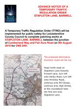 ANOTHER TEMPORARY TRAFFIC REGULATION ORDER FOR STAPLETON LANE