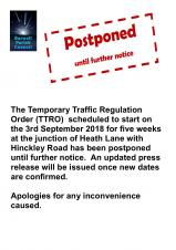 HEATH LANE ROAD CLOSURE POSTPONED