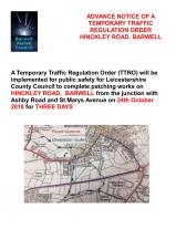 HINCKLEY ROAD, BARWELL CLOSES FOR THREE DAYS NEXT WEEK