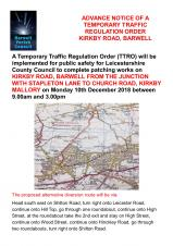 TEMPORARY TRAFFIC REGULATION ORDER FOR KIRKBY ROAD, BARWELL