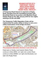 ANOTHER OVERNIGHT ROAD CLOSURE FOR RUGBY ROAD, HINCKLEY