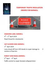 FORTHCOMING ROAD WORKS IN BARWELL