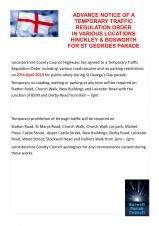 ST GEORGES PARADE ROAD CLOSURES IN HINCKLEY