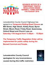 BARWELL VILLAGE CENTRE ROAD CLOSURE FOR CARNIVAL