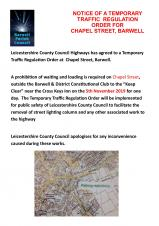 TEMPORARY TRAFFIC REGULATION ORDER FOR CHAPEL STREET, BARWELL