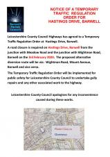 TEMPORARY TRAFFIC REGULATION ORDER FOR HASTINGS DRIVE, BARWELL