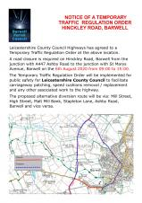ADVANCE NOTICE OF ROAD CLOSURE IN BARWELL