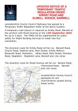 UPDATED NOTICE FOR TRAFFIC REGULATION ORDER FOR KIRKBY ROAD & ELWELL AVENUE