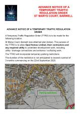 AADVANCE NOTICE OF TRAFFIC REGULATION ORDER FOR ST MARYS COURT, BARWELL