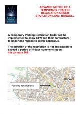 ADVANCE NOTICE OF PARKING RESTRICTIONS