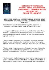 TEMPORARY TRAFFIC REGULATION ORDER FOR LEICESTER ROAD, BARWELL